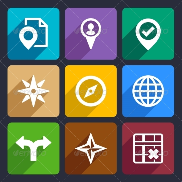 GraphicRiver Map GPS and Navigation Flat Icons Set 46 6977765