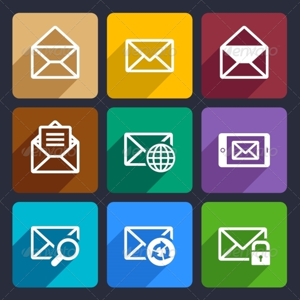 GraphicRiver Mail Flat Icons Set 47 6977767