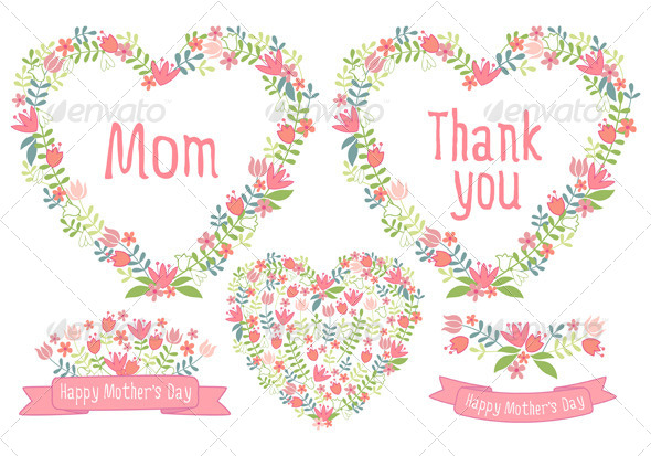 Happy Mother s Day Floral Vector Set
