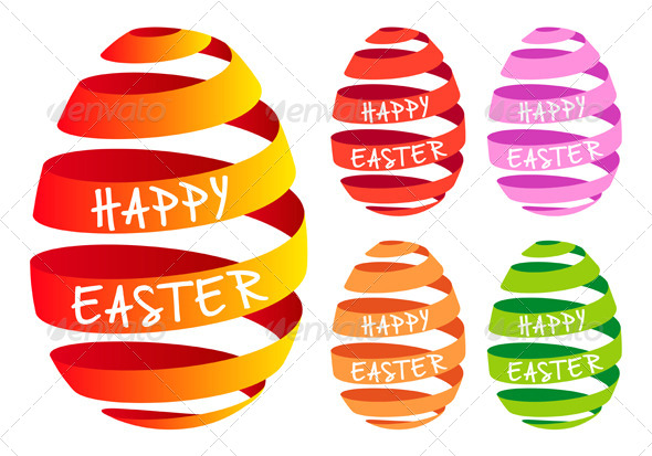 Ribbon Easter Eggs Vector Set