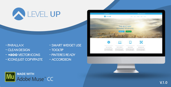 Level Up | One Page Muse Template - Corporate Muse Templates