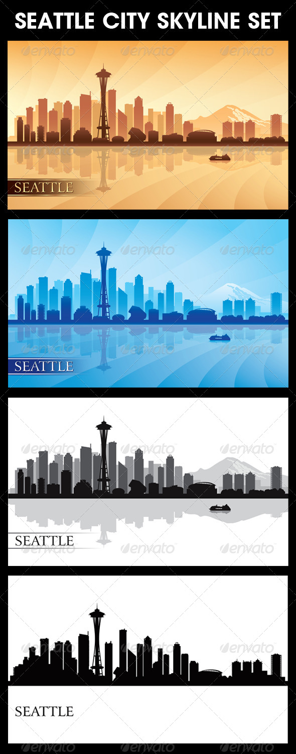 GraphicRiver Seattle City Skyline Silhouettes Set 6978648