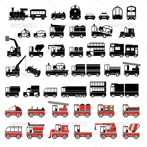 GraphicRiver Silhouettes of Cars Taxis and Trucks 6979028