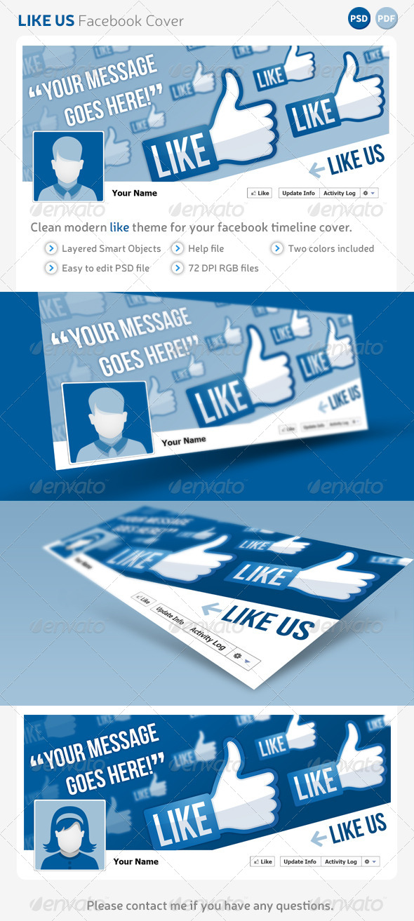 Like us facebook cover template graphicriver for Like us on facebook sticker template