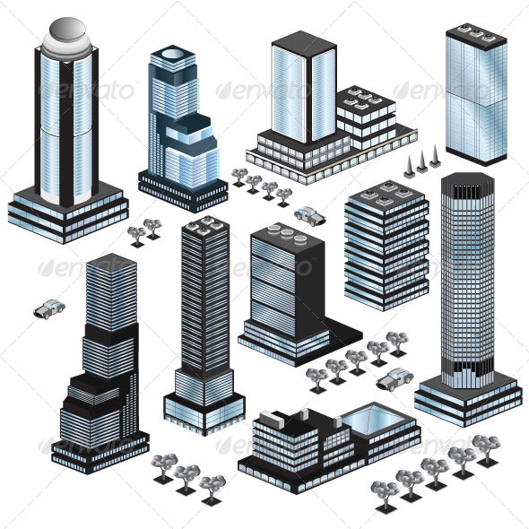 GraphicRiver Set of Skyscrapers and City Buildings 6979386
