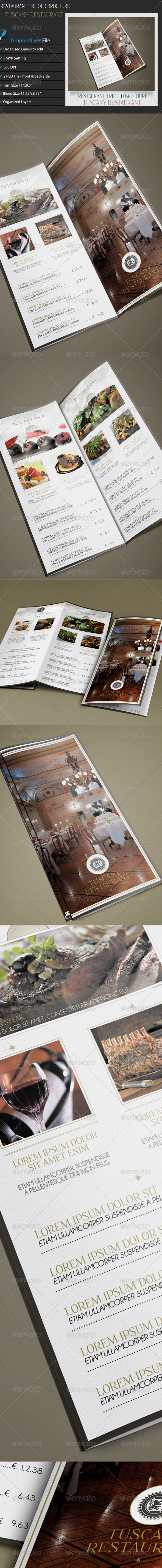 GraphicRiver Restaurant TriFold Brochure Tuscany 6980123