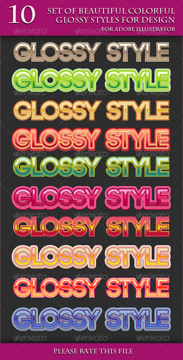 GraphicRiver Set of Beautiful Colorful Glossy Styles for Design 6980354