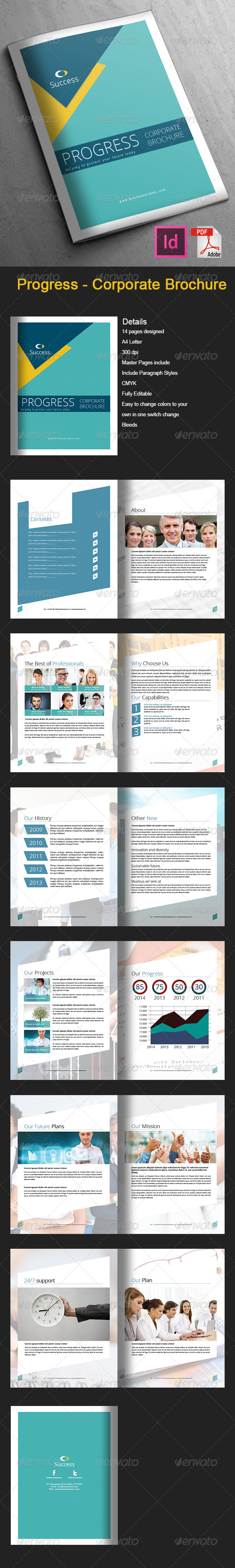 GraphicRiver Progress Corporate Brochure 14 pages 6980486