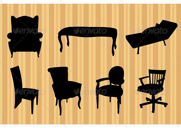 GraphicRiver Seats Silhouettes 6980624