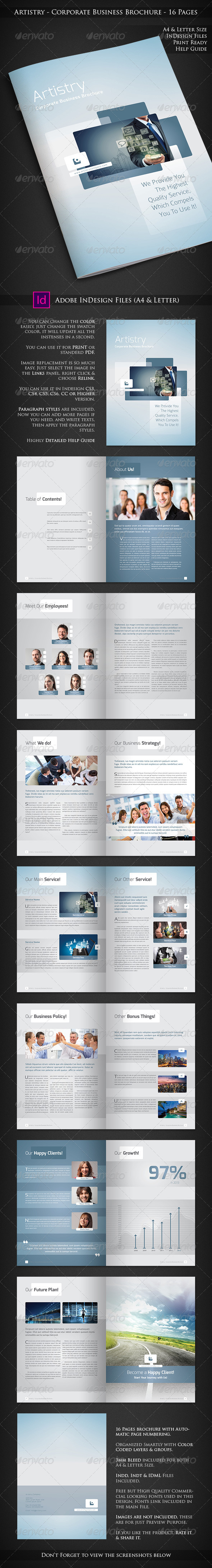 GraphicRiver Artistry Corporate Business Brochure 16 Pages 6981445
