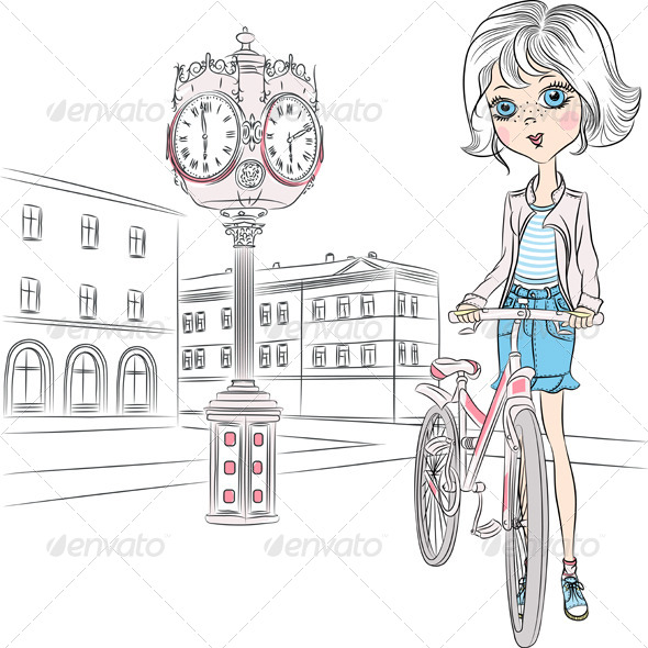 GraphicRiver Girl with Bicycle 6981744