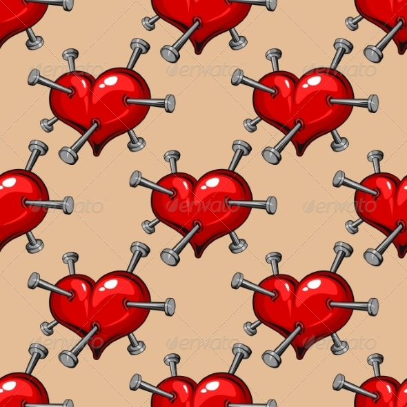 GraphicRiver Seamless Pattern of Hearts Studded with Nails 6982012