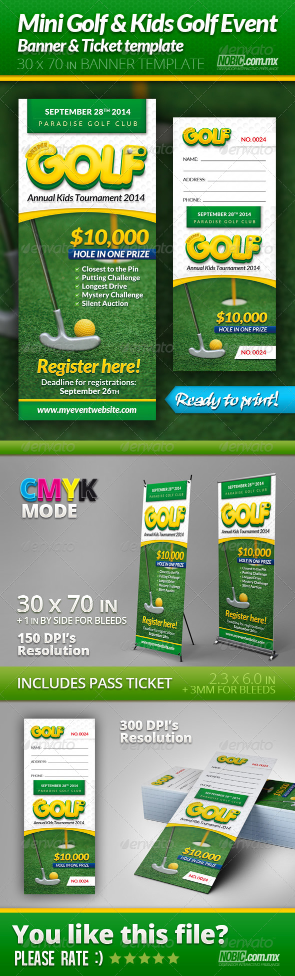 GraphicRiver Mini Golf and Kids Golf Event Banner and Ticket 6970836
