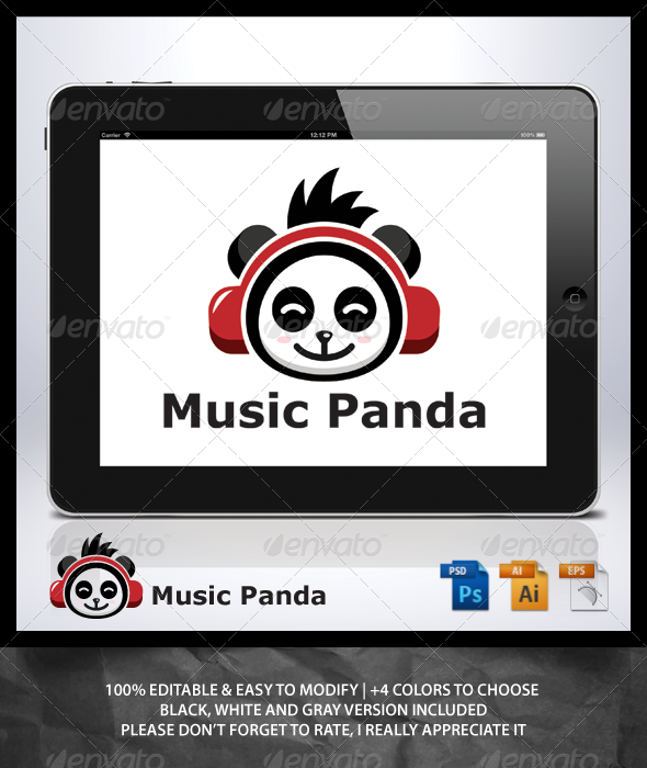 GraphicRiver Music Panda Logo 6982313