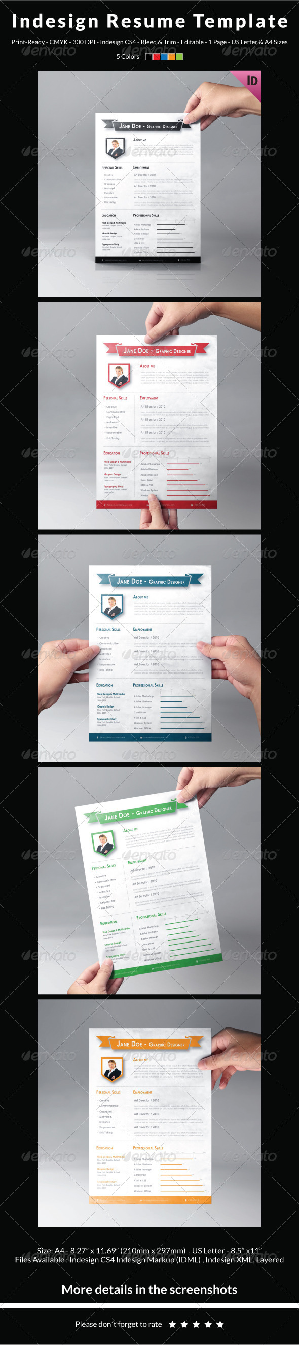 Resume Template InDesign Graphics, Designs & Templates