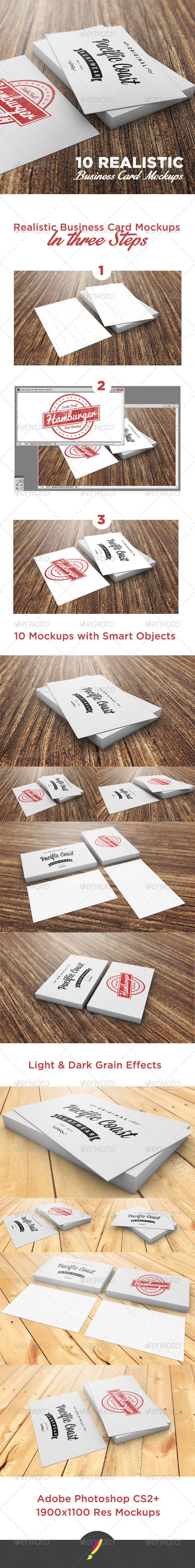 GraphicRiver 10 Photorealistic Business Card Mockups 6982591