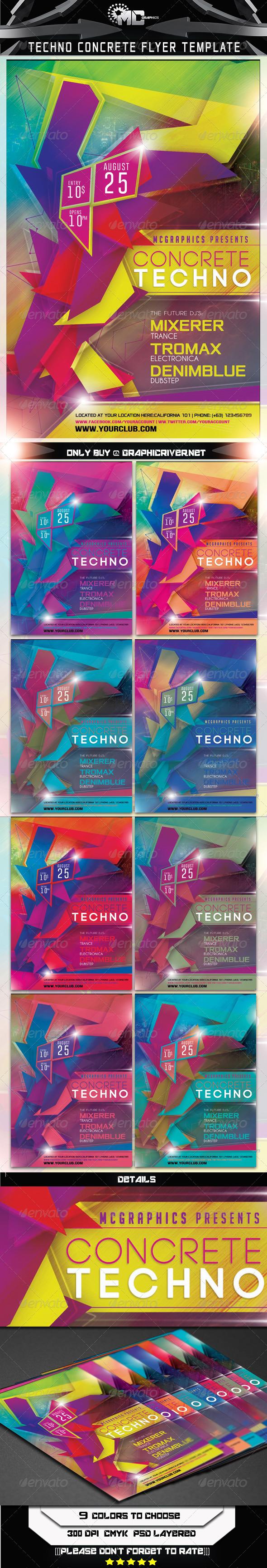 GraphicRiver Techno Concrete Flyer Template 6982694