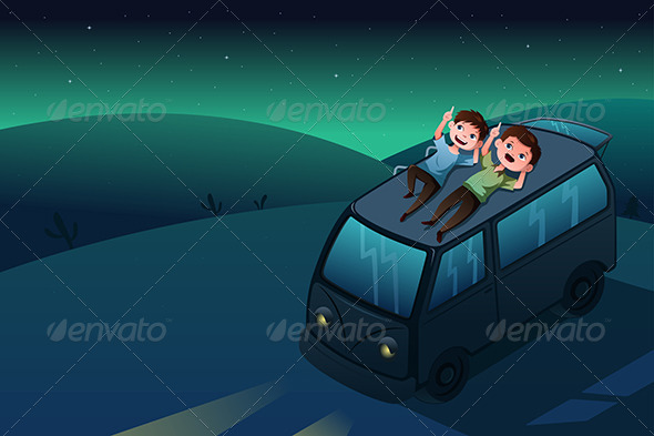 GraphicRiver Father and Son Looking at the Stars at Night 6983631