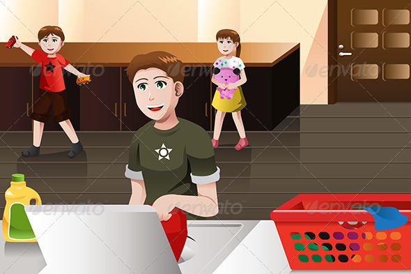 GraphicRiver Father doing Laundry 6983679