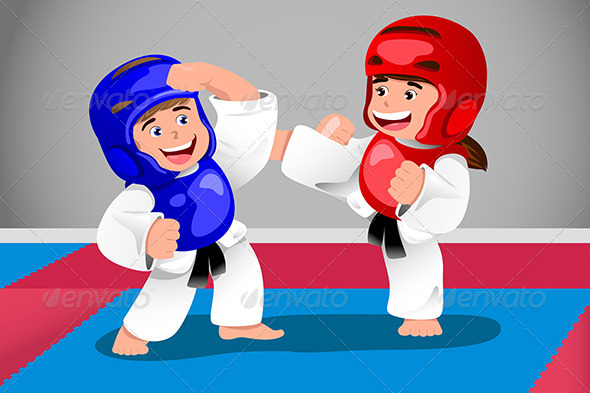 GraphicRiver Kids Practicing Taekwondo 6984142