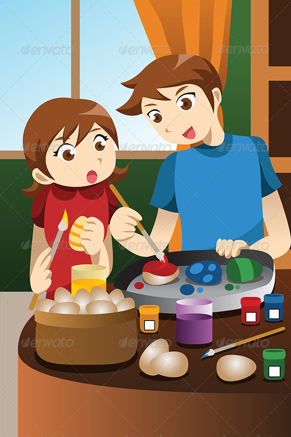 GraphicRiver Kids Painting Easter Eggs 6984147