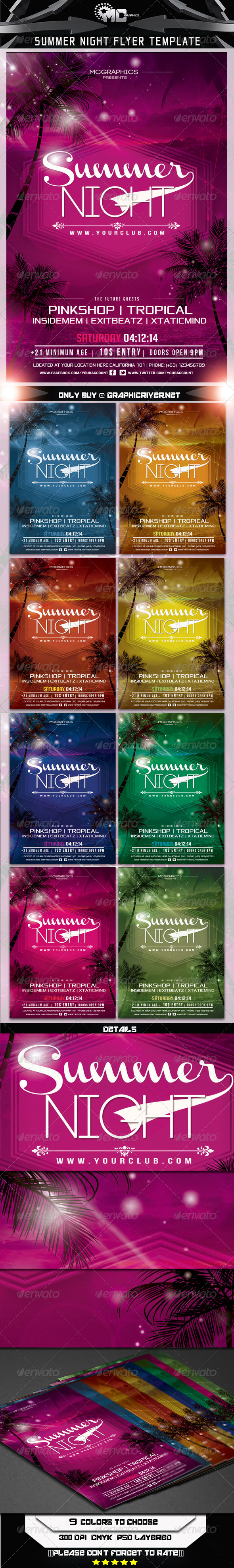 GraphicRiver Summer Night Flyer Template 6984271