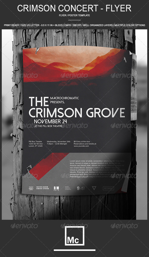 GraphicRiver Crimson Concert Flyer Poster 6984317