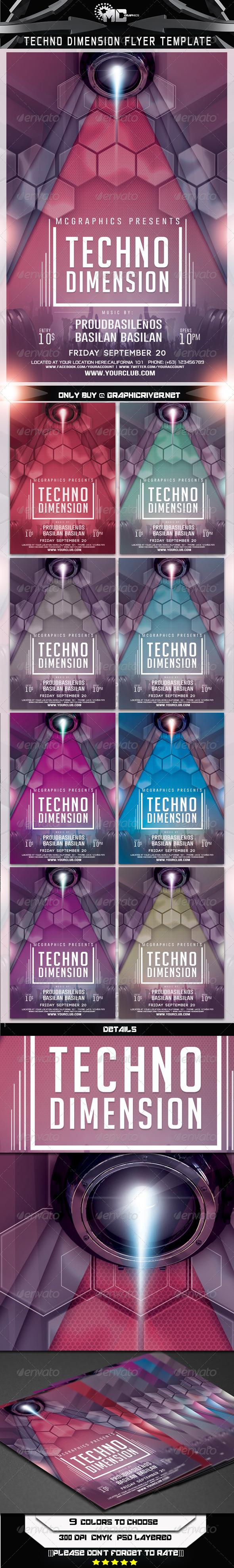 GraphicRiver Techno Dimension Flyer Template 6984423