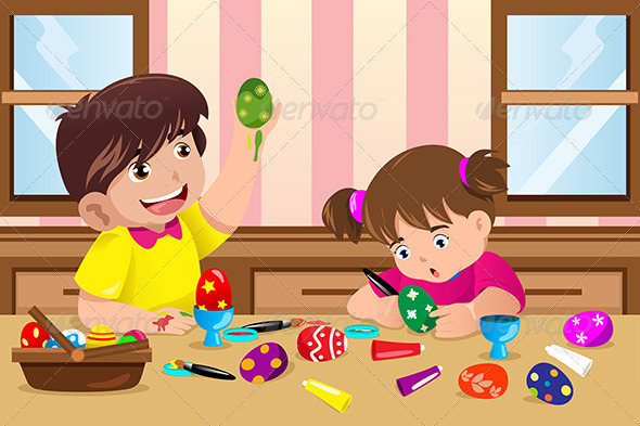 GraphicRiver Kids Painting Easter Eggs 6984738