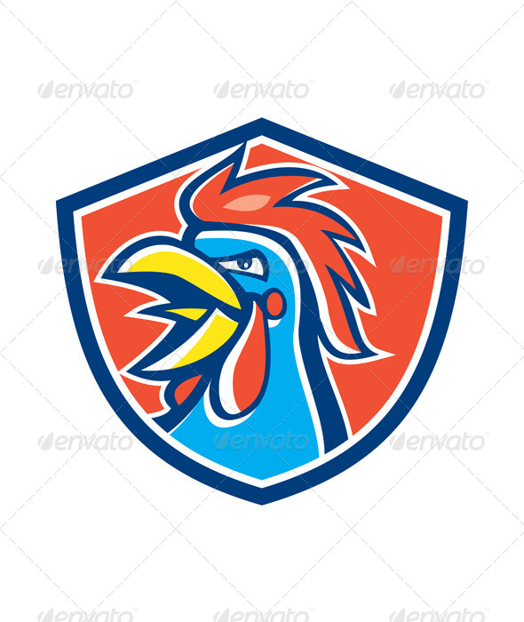 GraphicRiver Cockerel Rooster Crowing Head Shield 6985431