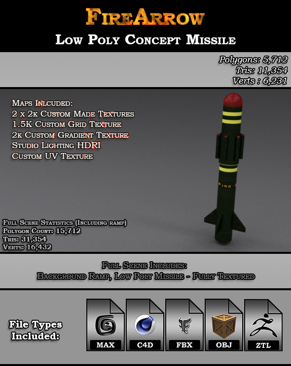 Fire Arrow - Low Poly Concept Missile  - 3DOcean Item for Sale