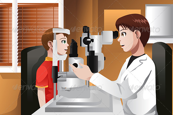 GraphicRiver Boy Having His Eyes Checked at the Doctor Office 6985718