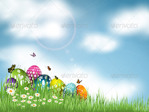 GraphicRiver Easter Eggs in Grass 6986337