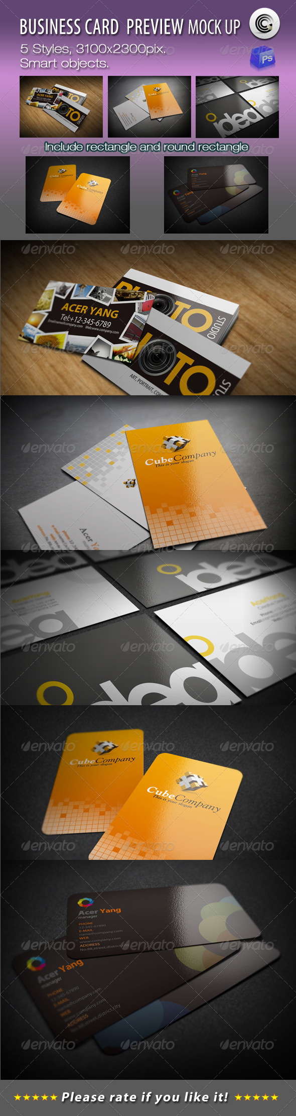 5 Styles Business Card Preview Mock-ups