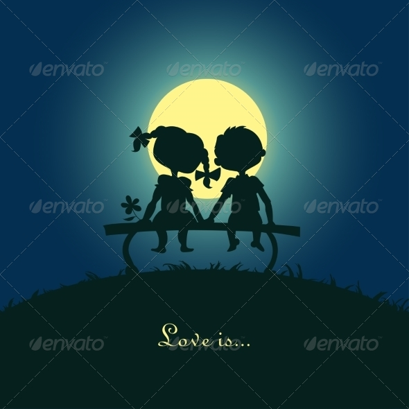 GraphicRiver Silhouettes of Boy and Girl 6987366