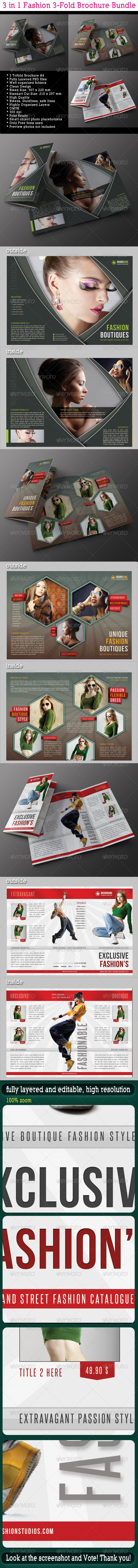 GraphicRiver 3 in 1 Fashion 3-Fold Brochure Bundle 05 6987700