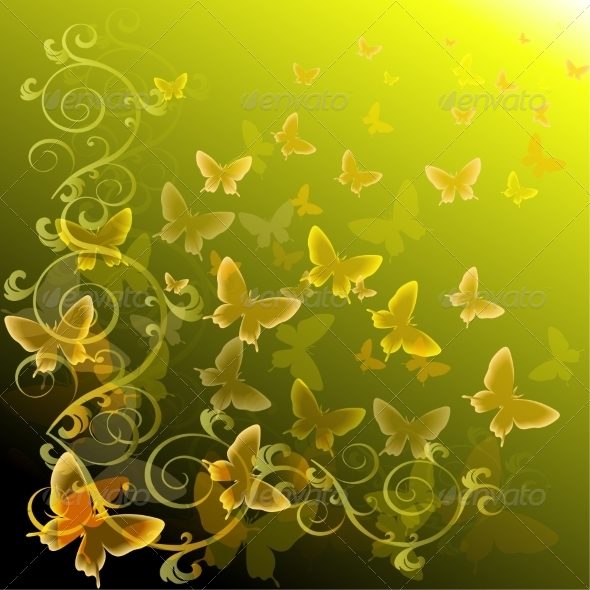 GraphicRiver Abstract Colourful Background with Butterflies 6987941
