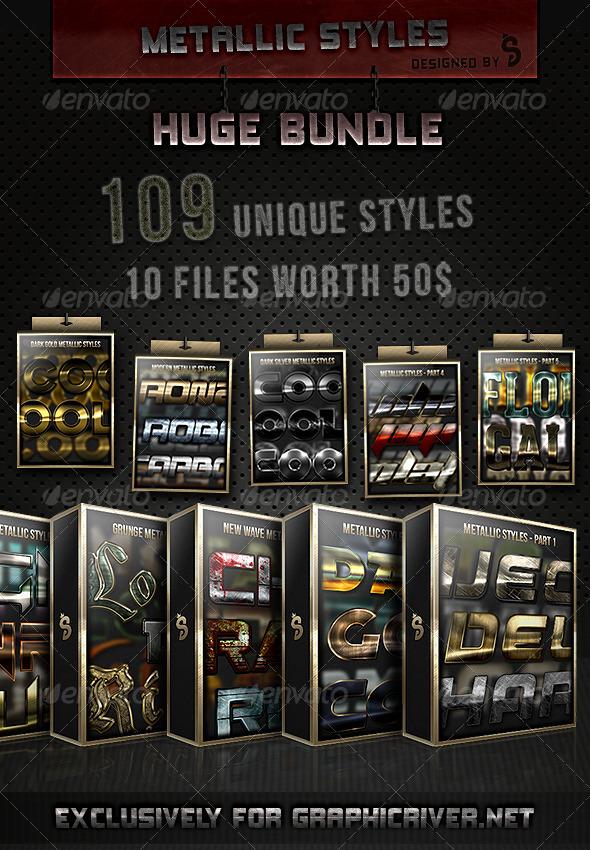 GraphicRiver 109 Metallic Styles Huge Bundle 6988160