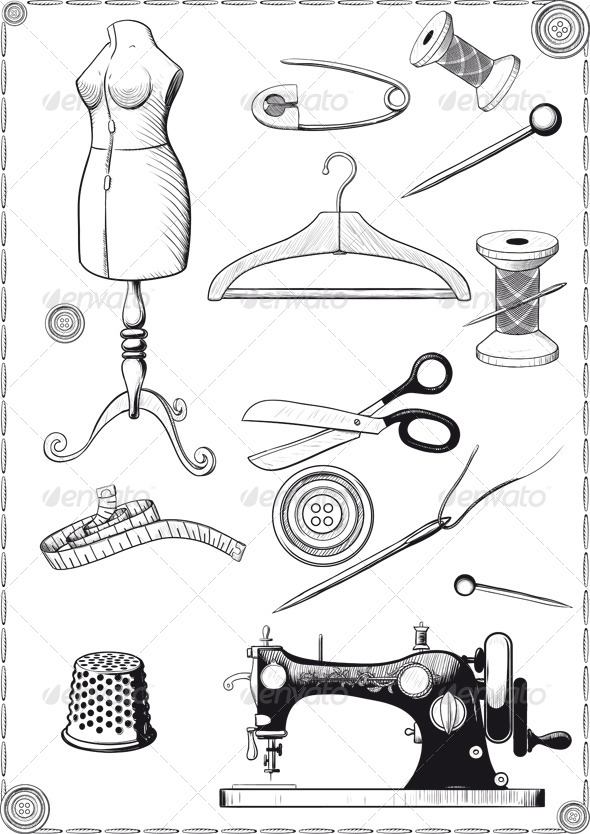 GraphicRiver Accessories for Sewing 6989309
