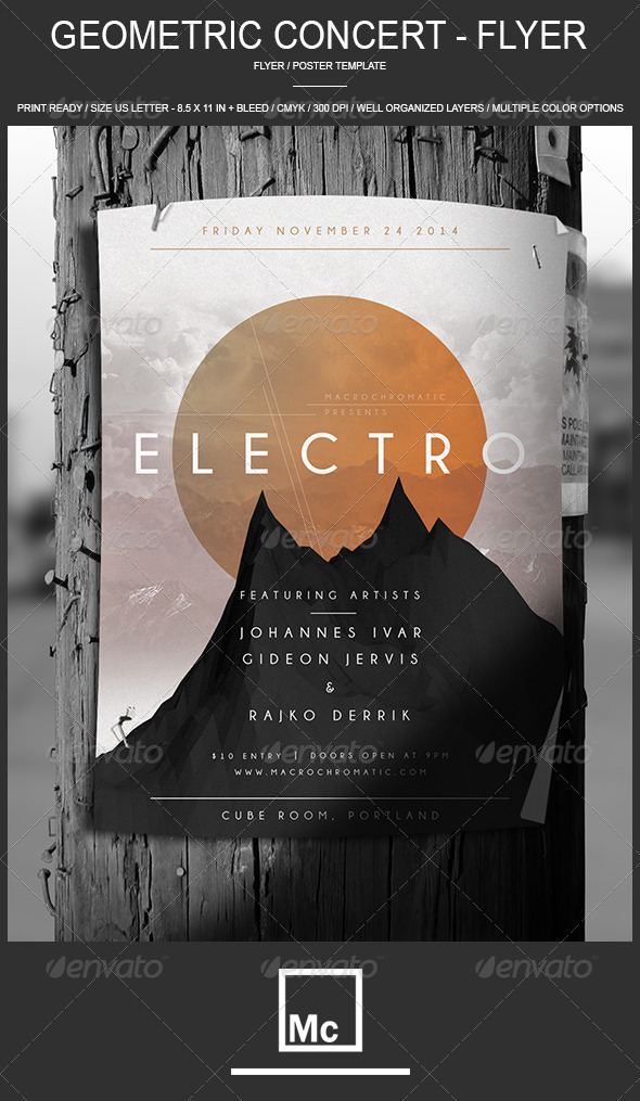 GraphicRiver Geometric Concert Flyer Poster 6990217