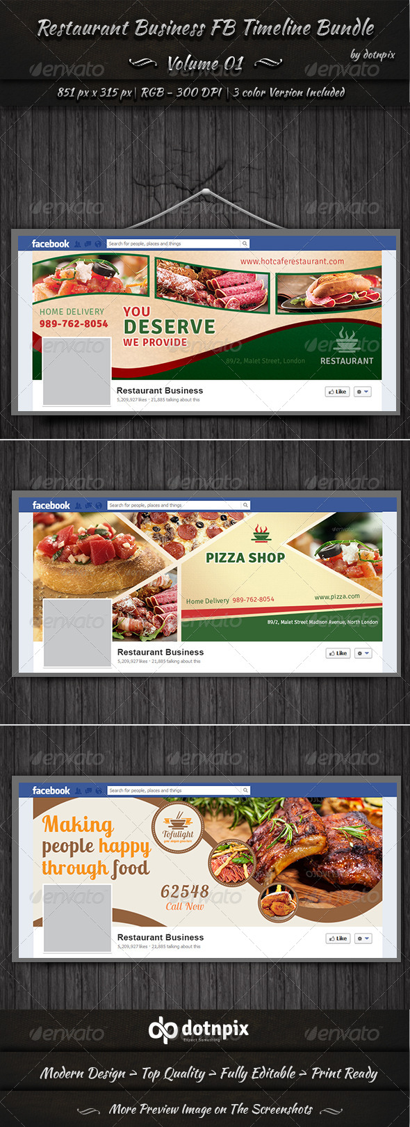 GraphicRiver Restaurant Business FB Timeline Bundle Volume 1 6990244