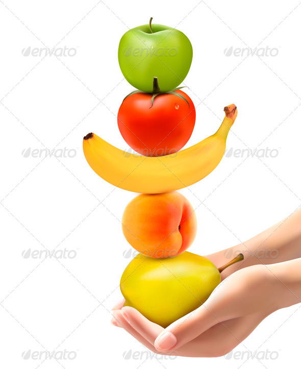 GraphicRiver Hands Holding a Pyramid of Healthy Fruit 6990411