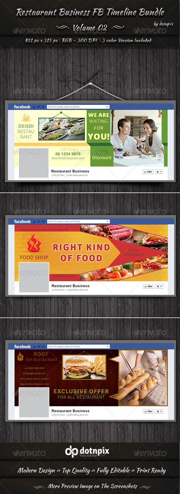 GraphicRiver Restaurant Business FB Timeline Bundle Volume 2 6990425