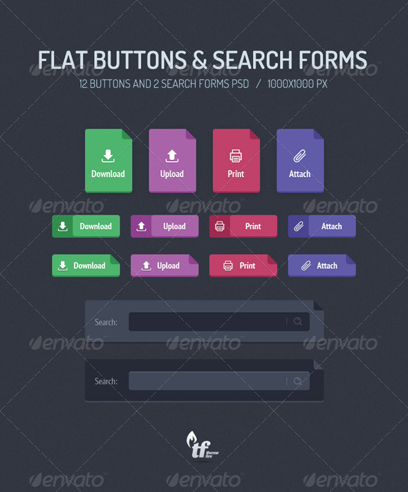 GraphicRiver Flat Buttons & Search Forms 6990464