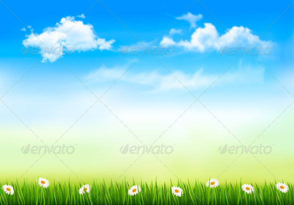 GraphicRiver Nature Background with Green Grass and Sky 6990461