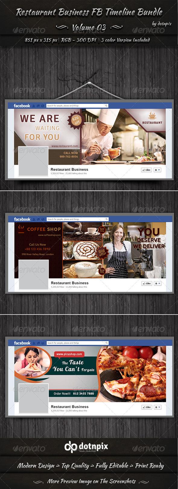 GraphicRiver Restaurant Business FB Timeline Bundle Volume 3 6990649
