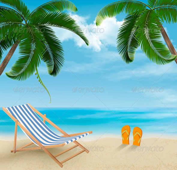 GraphicRiver Travel Background with Palm Leaves on Beach 6990706