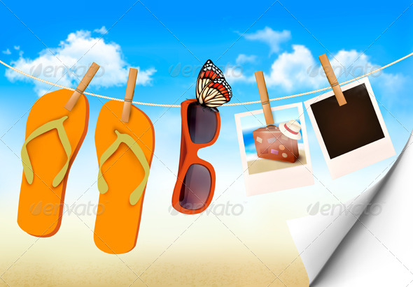 GraphicRiver Flip Flops and Photo Cards Hanging on Rope 6990744