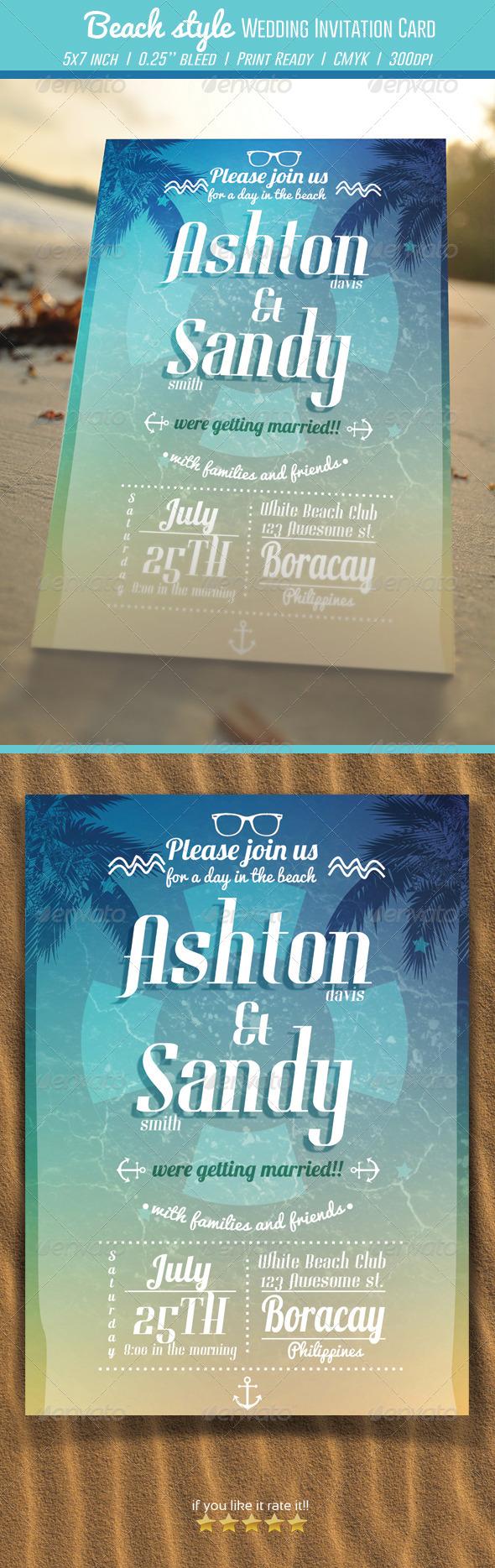 GraphicRiver Beach Style Wedding Invitation Card 6978646