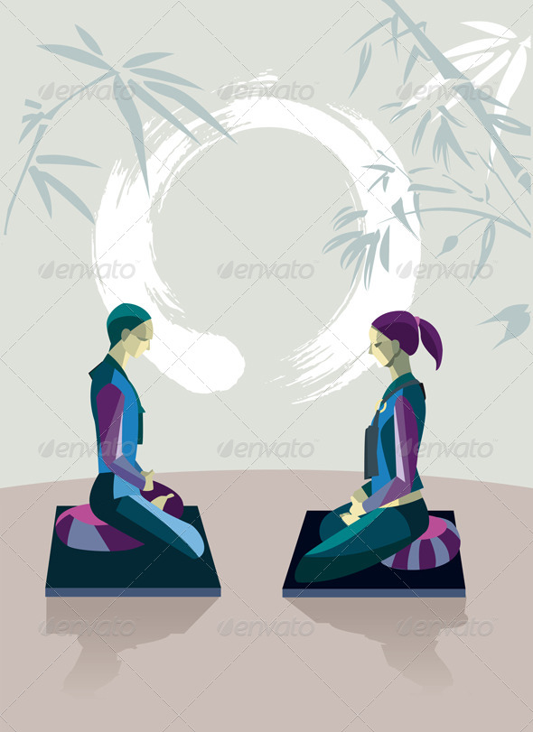 GraphicRiver Man and Woman Meditating with Enso 6991612